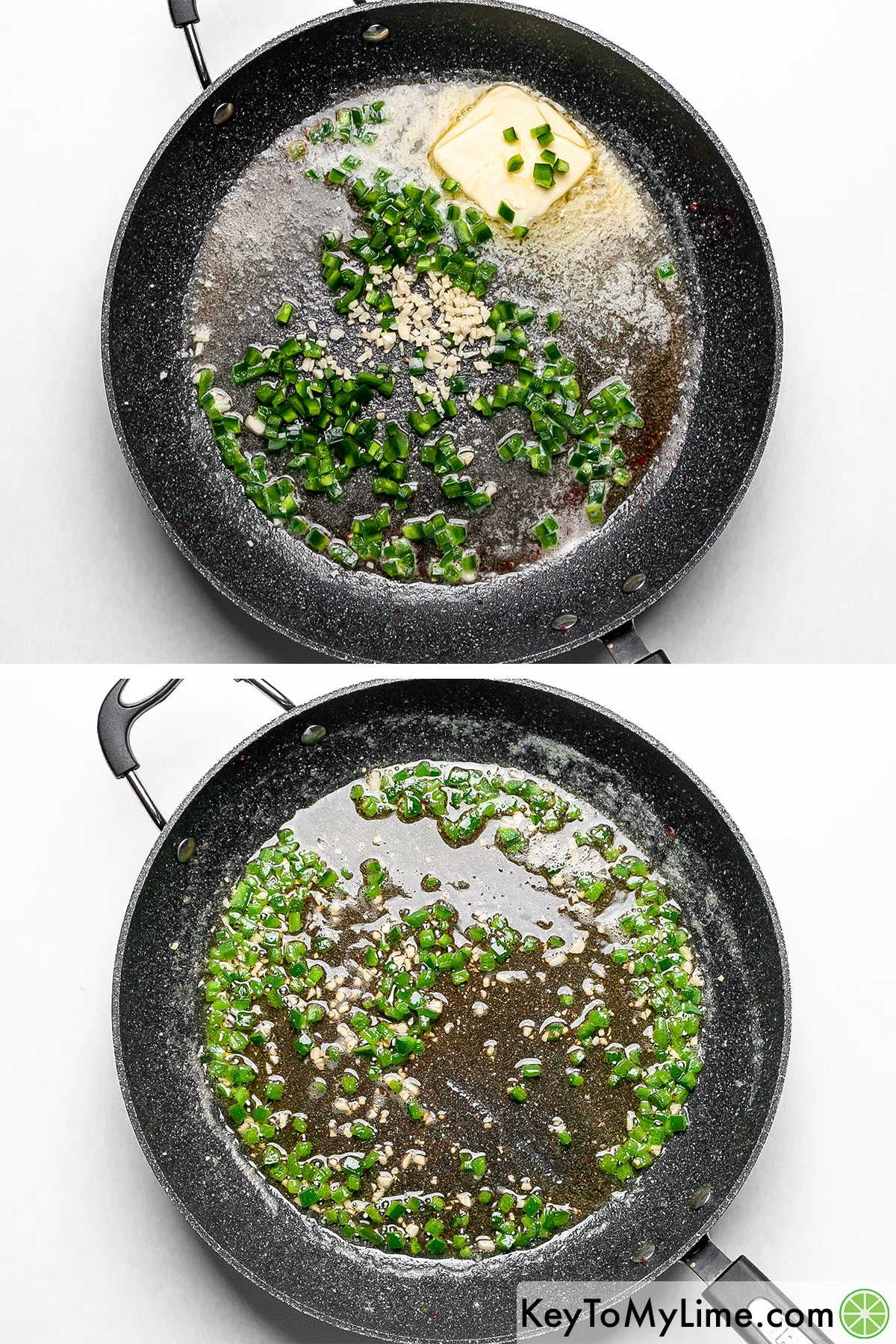 Sauteing diced jalapeno and minced garlic.