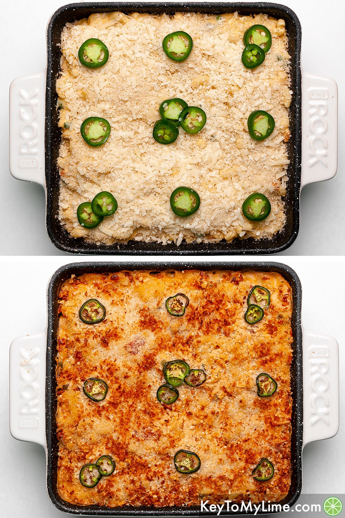 Spicy mac and cheese before and after baking.