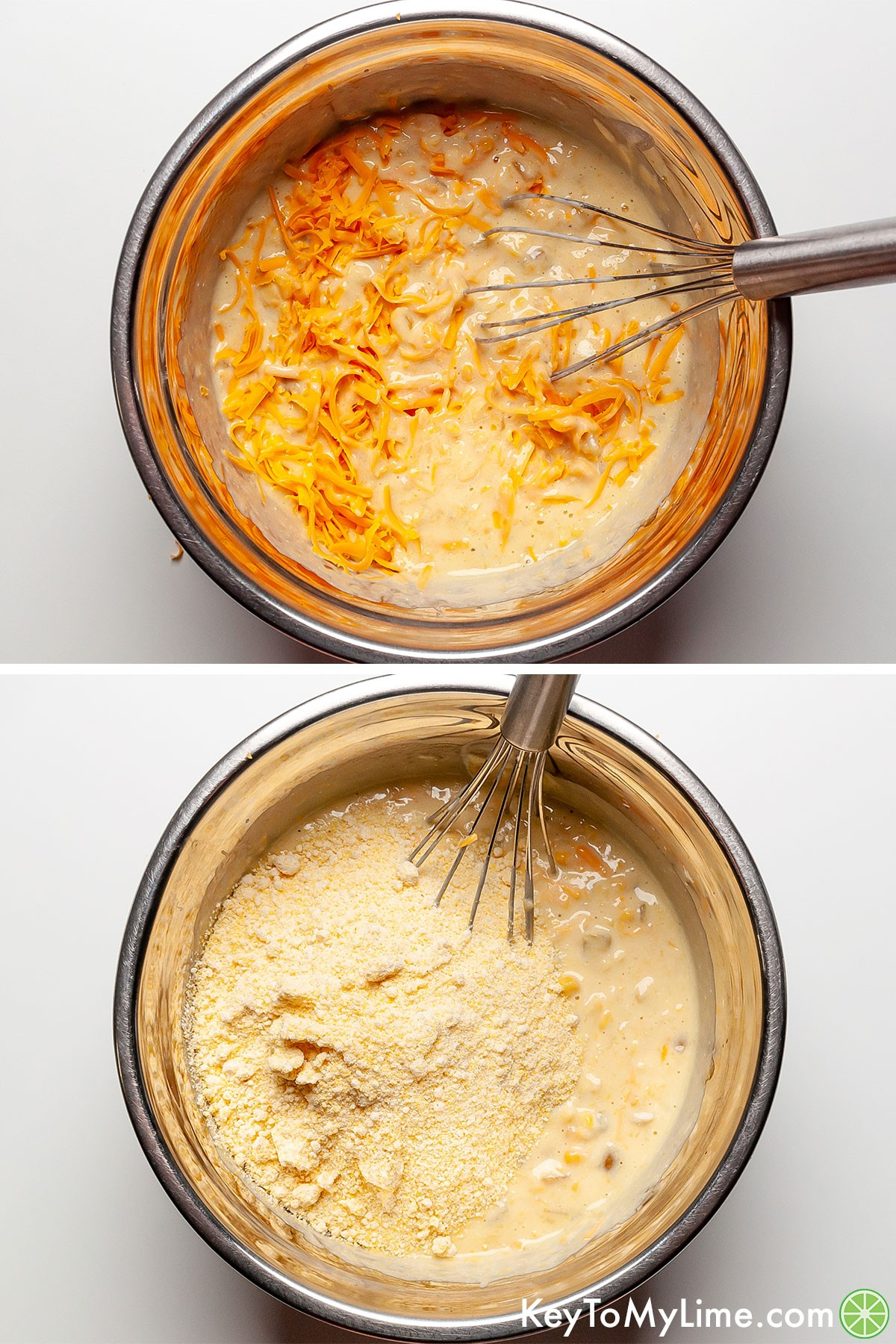 A process collage showing mixing the dry ingredients into the wet ingredients for Mexican cornbread.