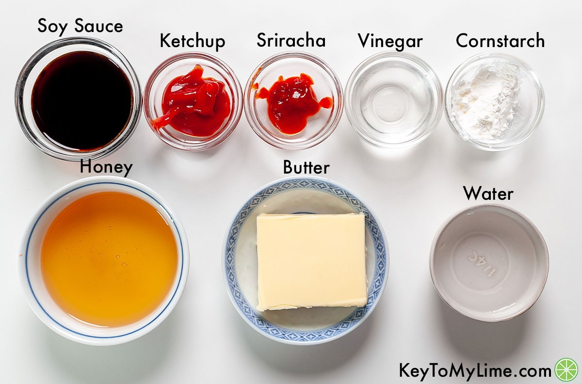Sweet and sour wing sauce ingredients labeled.