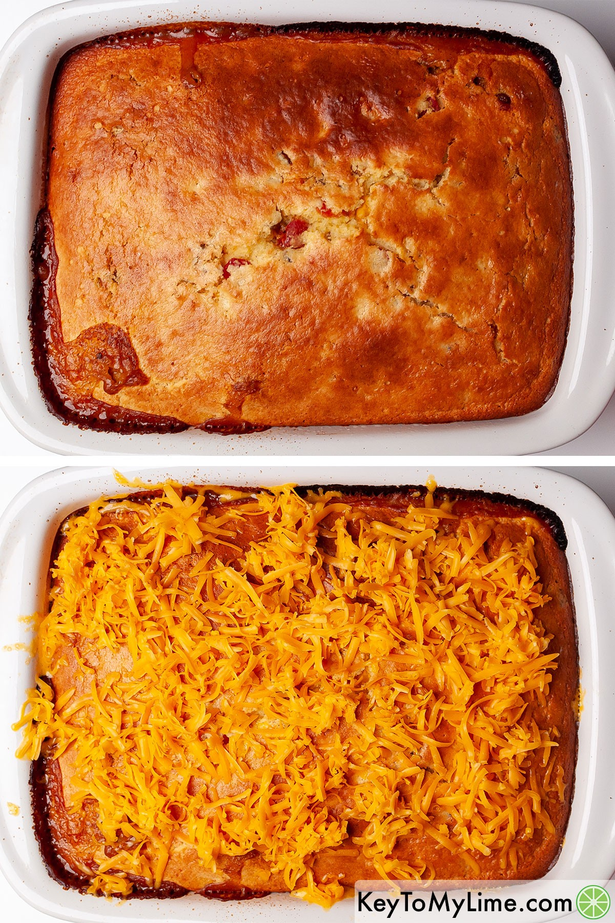 Topping ground beef cornbread casserole with shredded cheddar cheese.