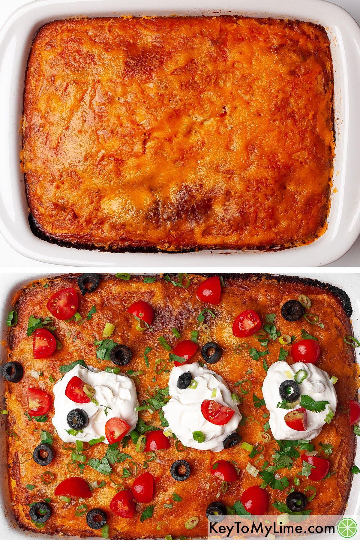 Topping Mexican cornbread casserole with taco toppings.