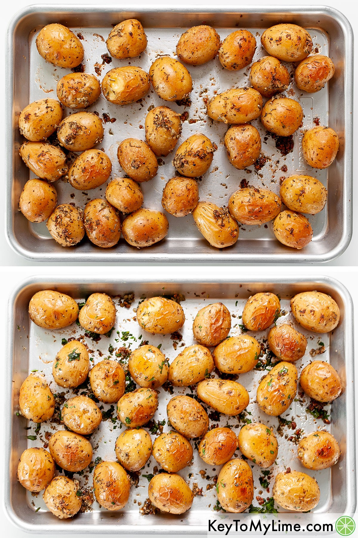 A process collage showing the roasted baby potatoes after baking and then after mixing with fresh parsley.
