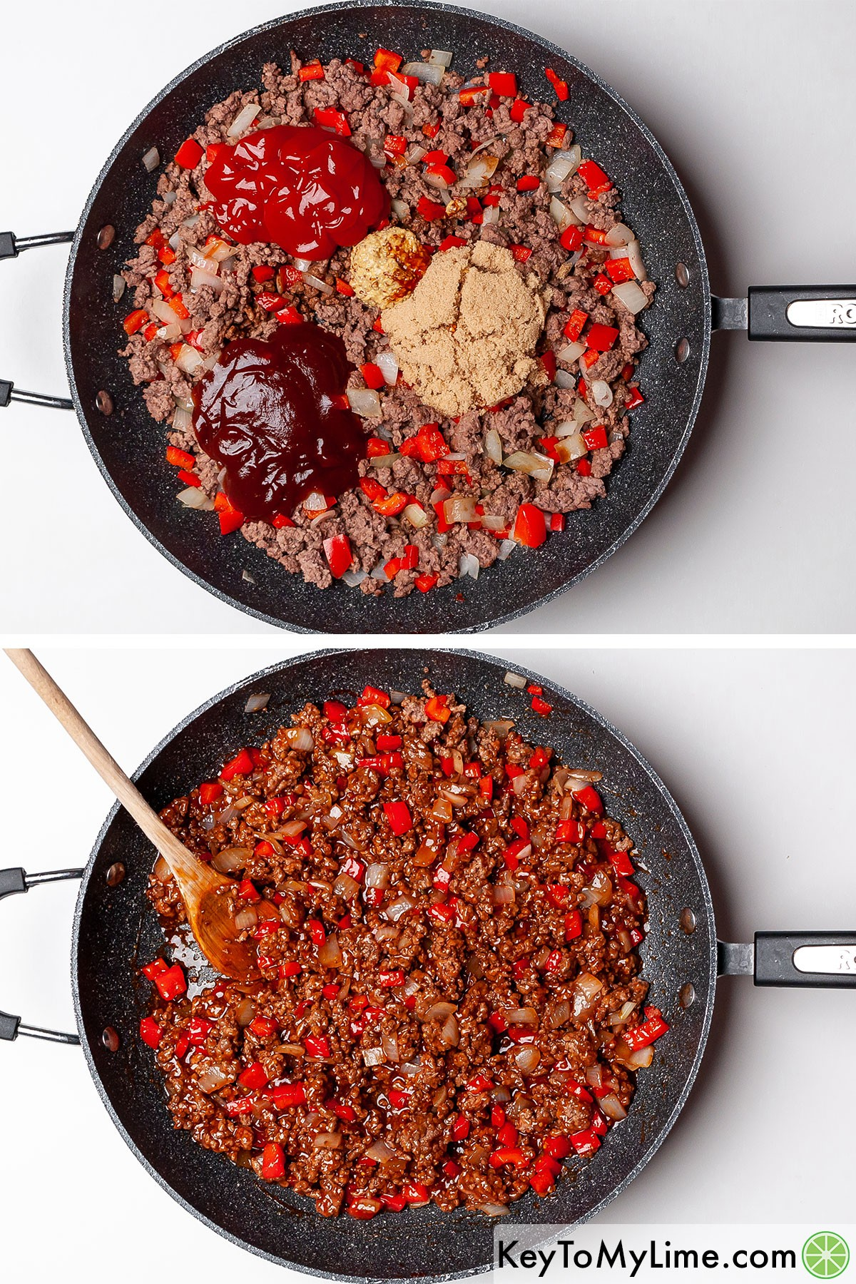 Mixing ketchup, BBQ sauce, and brown sugar into browned ground beef.