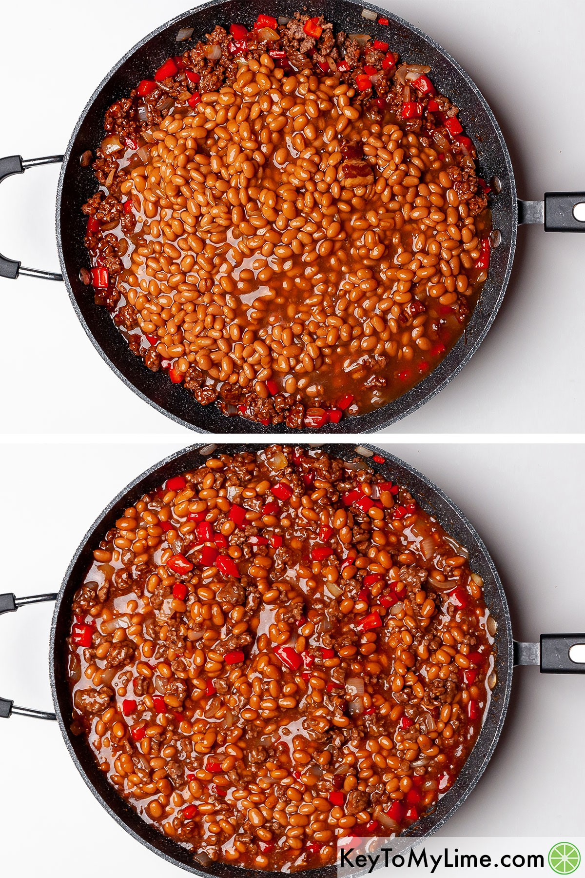 Mixing baked beans into BBQ ground beef.