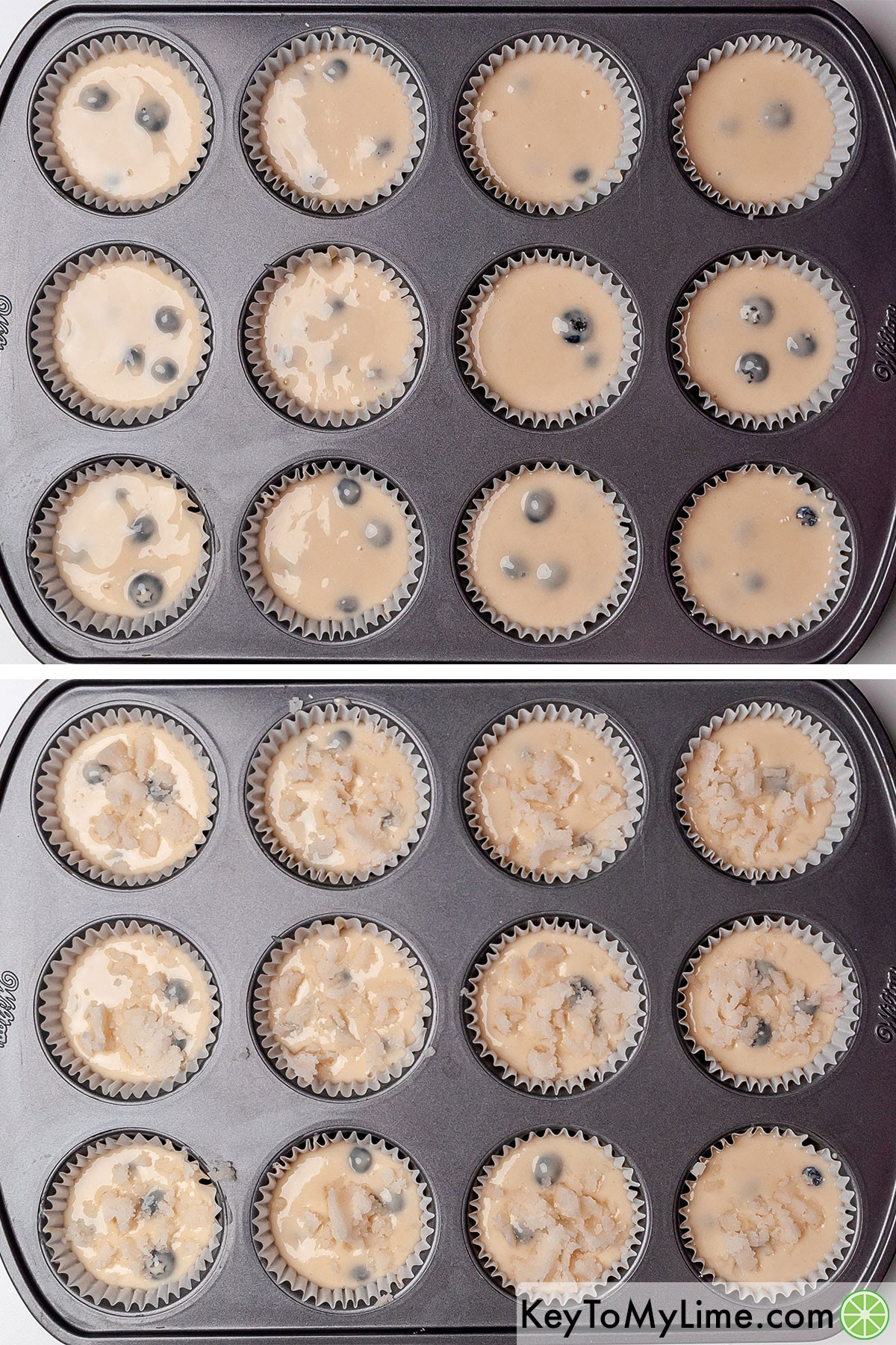 Bisquick muffin batter in a baking tin before and after adding the streusel topping.
