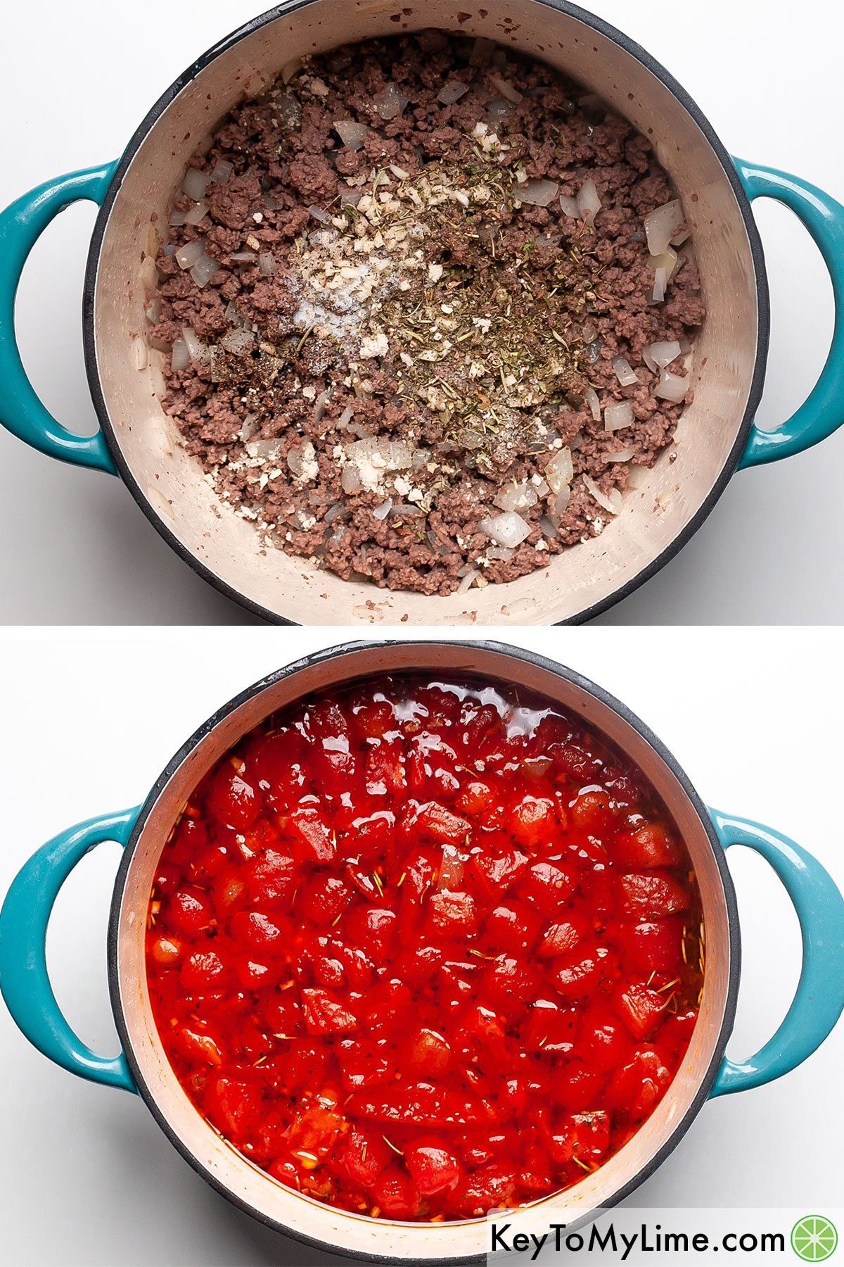 Adding canned tomatoes and dried herbs to browned ground beef.