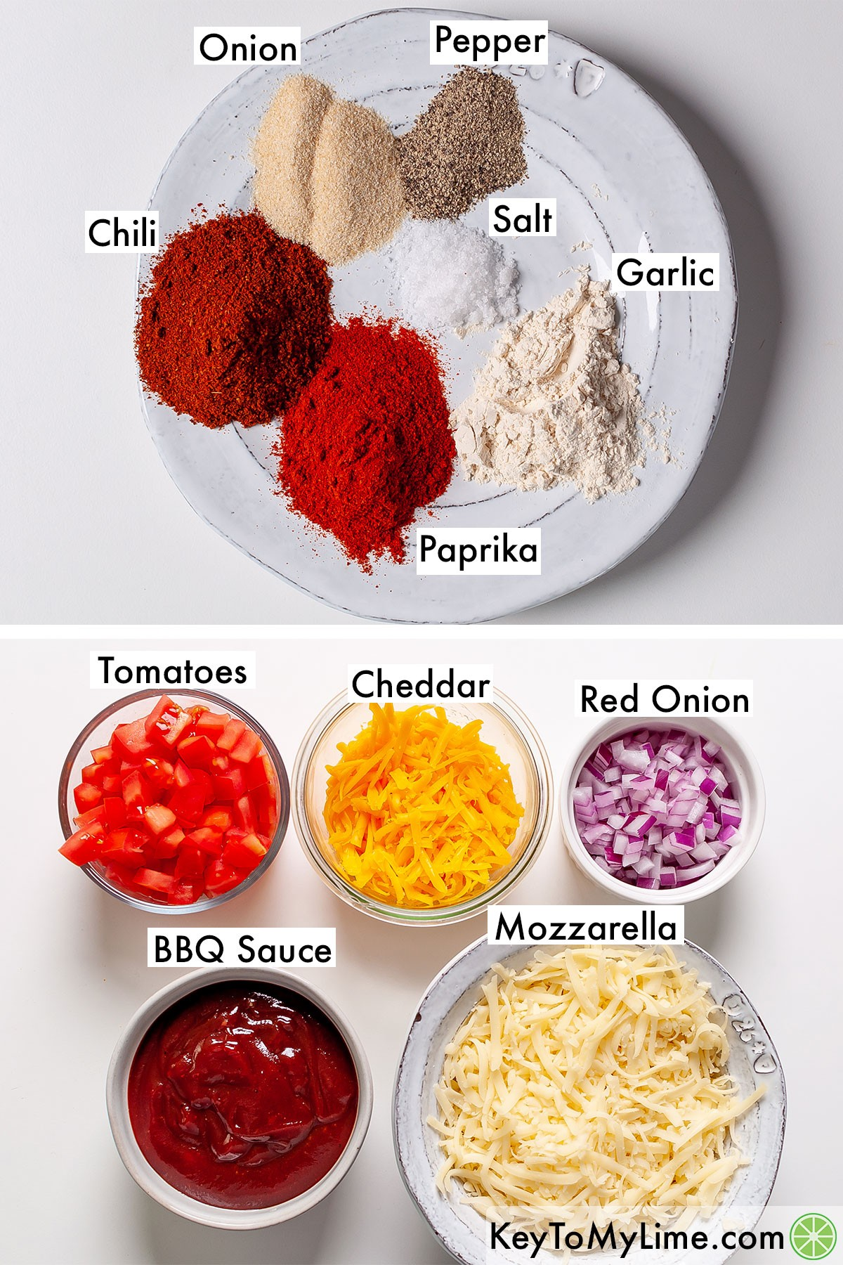 Labeled spices and toppings for BBQ chicken nachos.