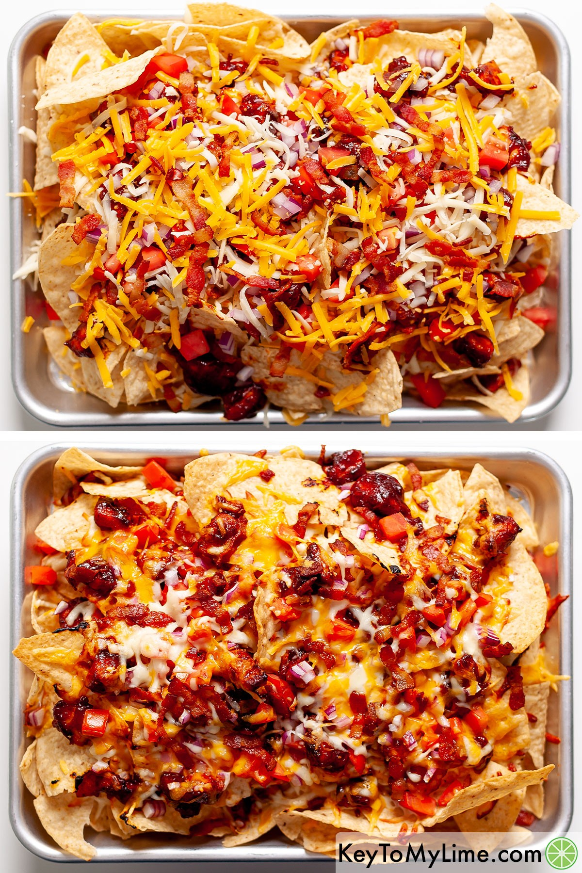 BBQ chicken nachos before and after baking.