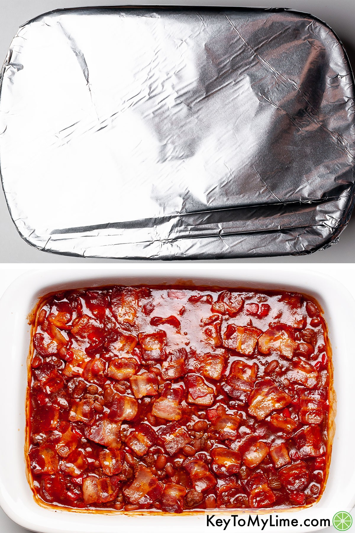 Covering baked beans with aluminum foil to bake, then what the bean casserole looks like after baking.