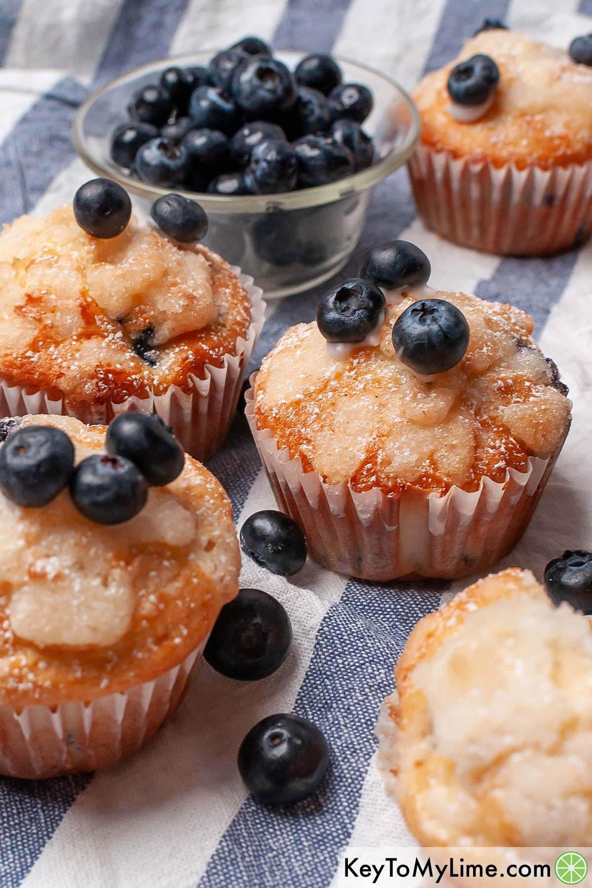 The best Bisquick blueberry muffins with fresh blueberries.