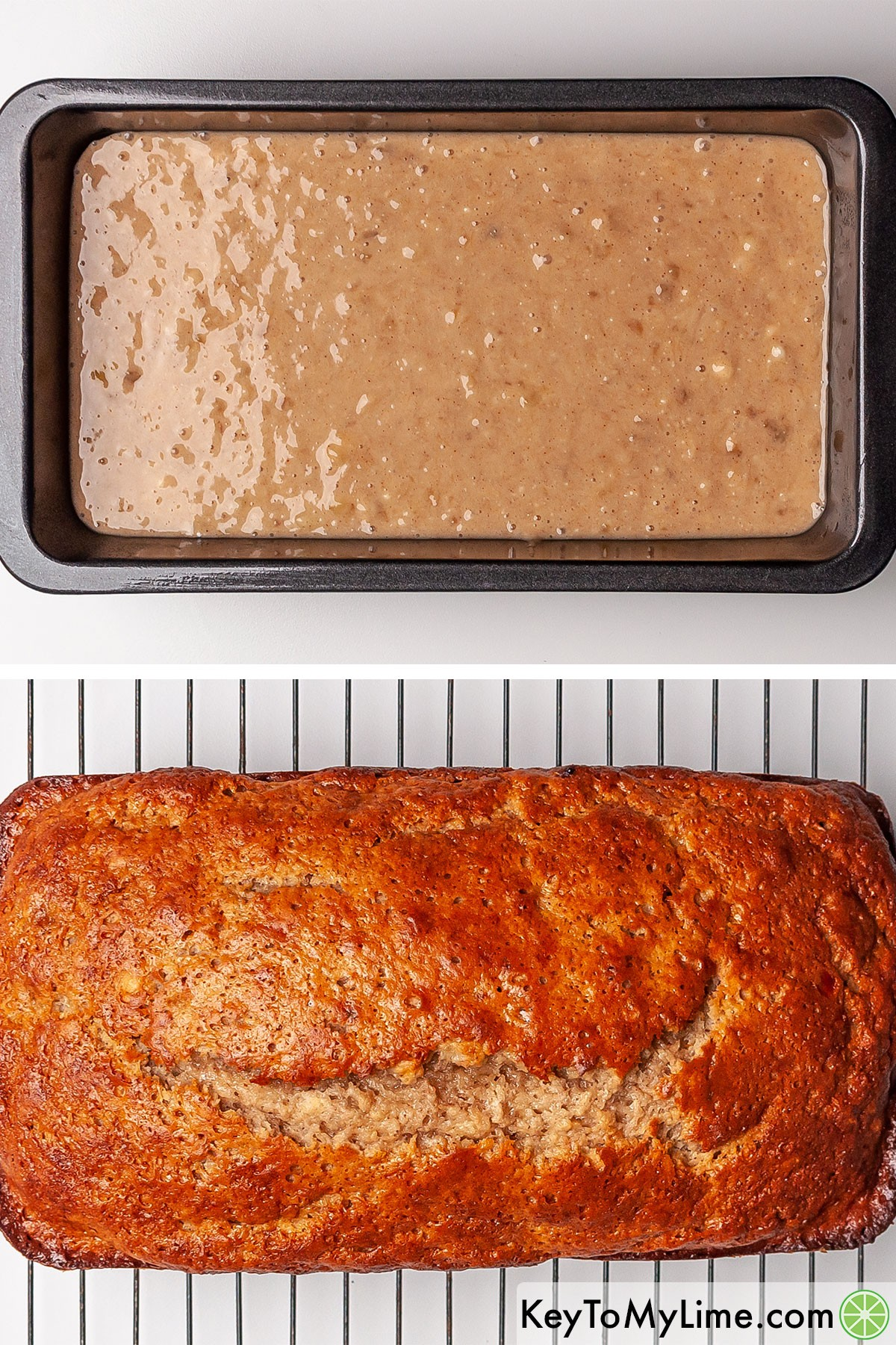 Banana bread before and after baking.