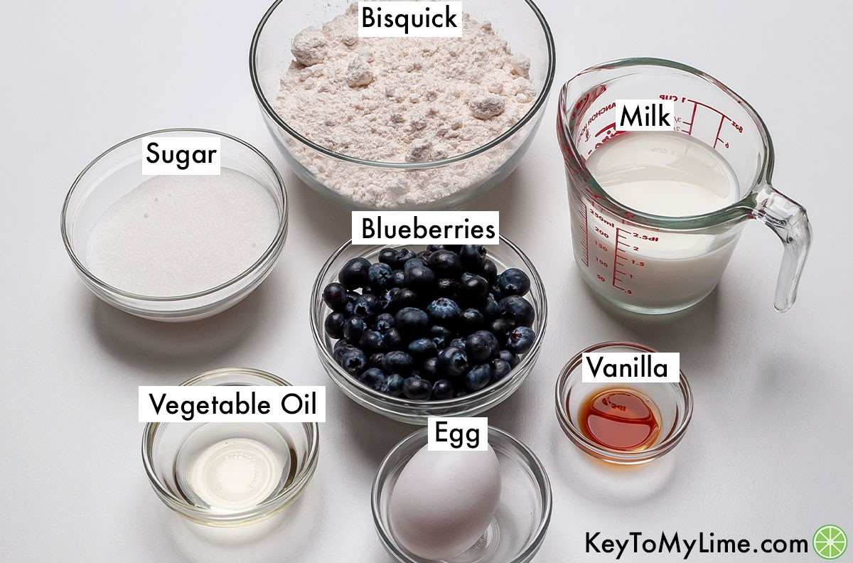 Bisquick blueberry muffins ingredients labeled.
