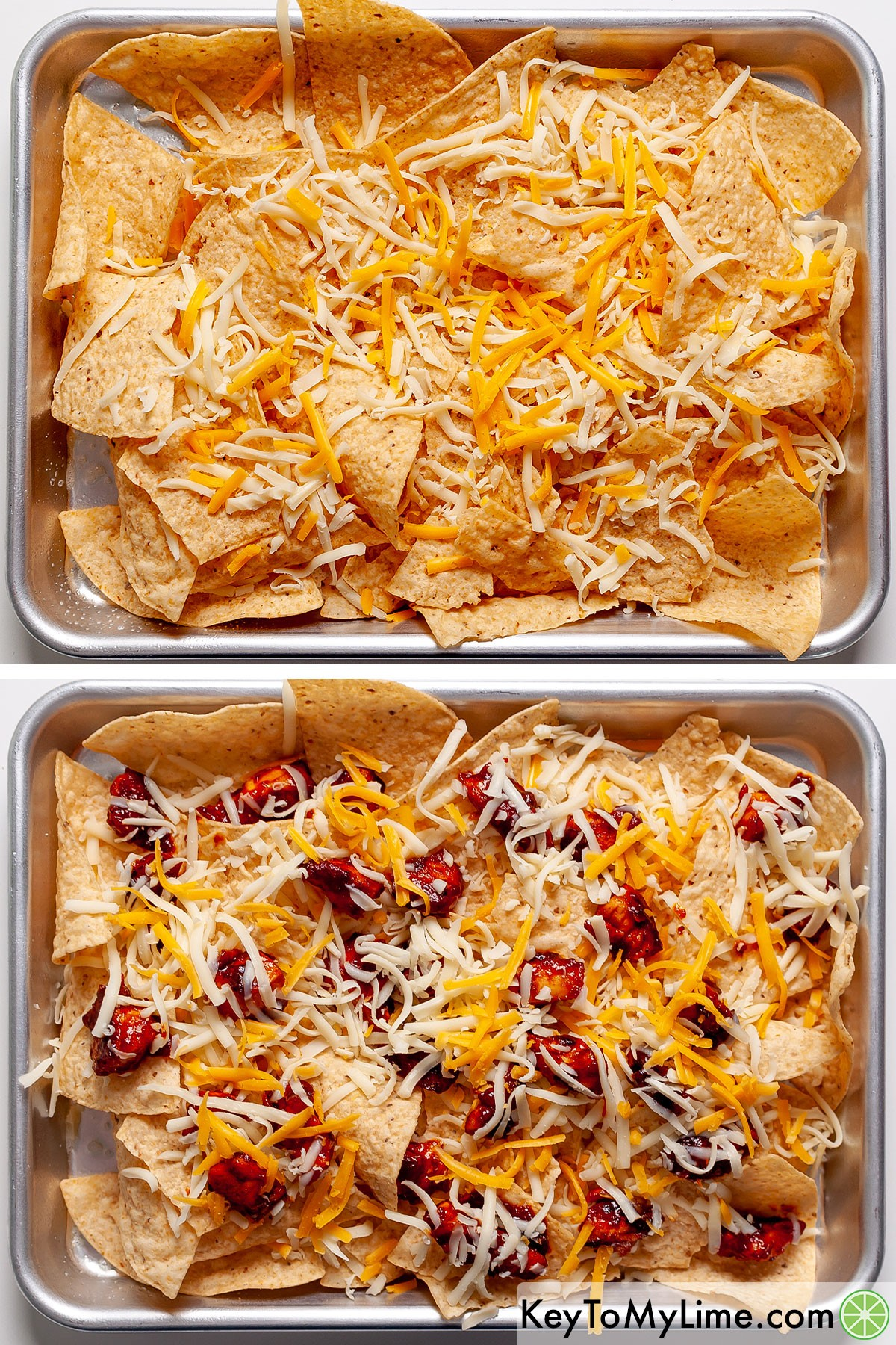 Assembling the first layer of BBQ chicken nachos.