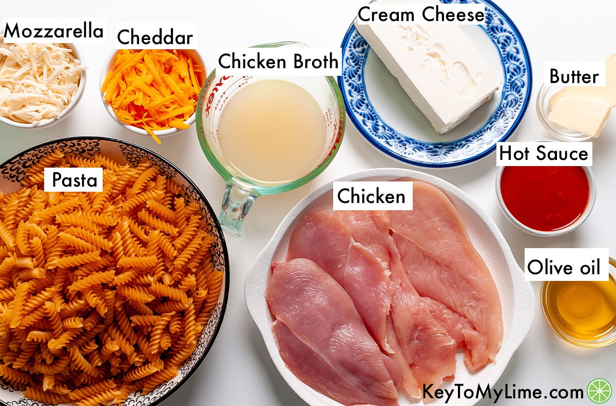 Buffalo chicken pasta ingredients labeled.