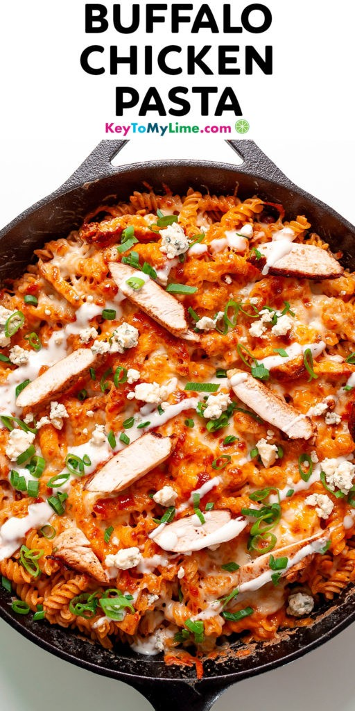 A Pinterest pin image of Buffalo chicken pasta with title text at the top.