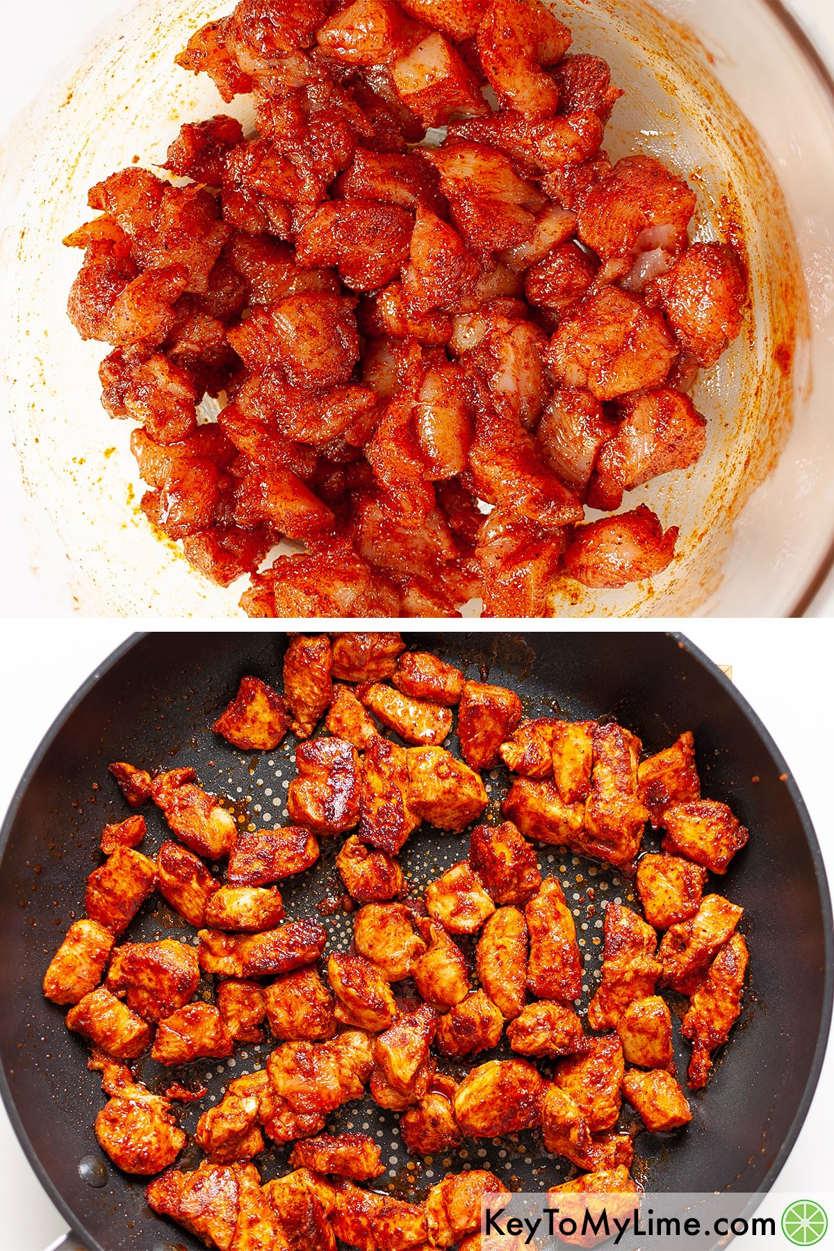 Seasoned chunks of chicken breast before and after cooking.