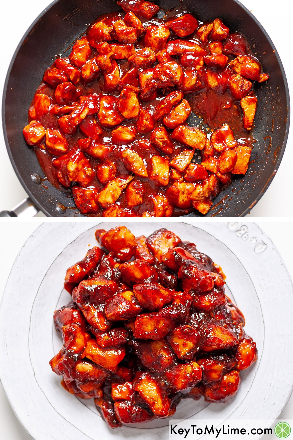 Chunks of chicken breast in BBQ sauce before and after letting the sauce reduce.