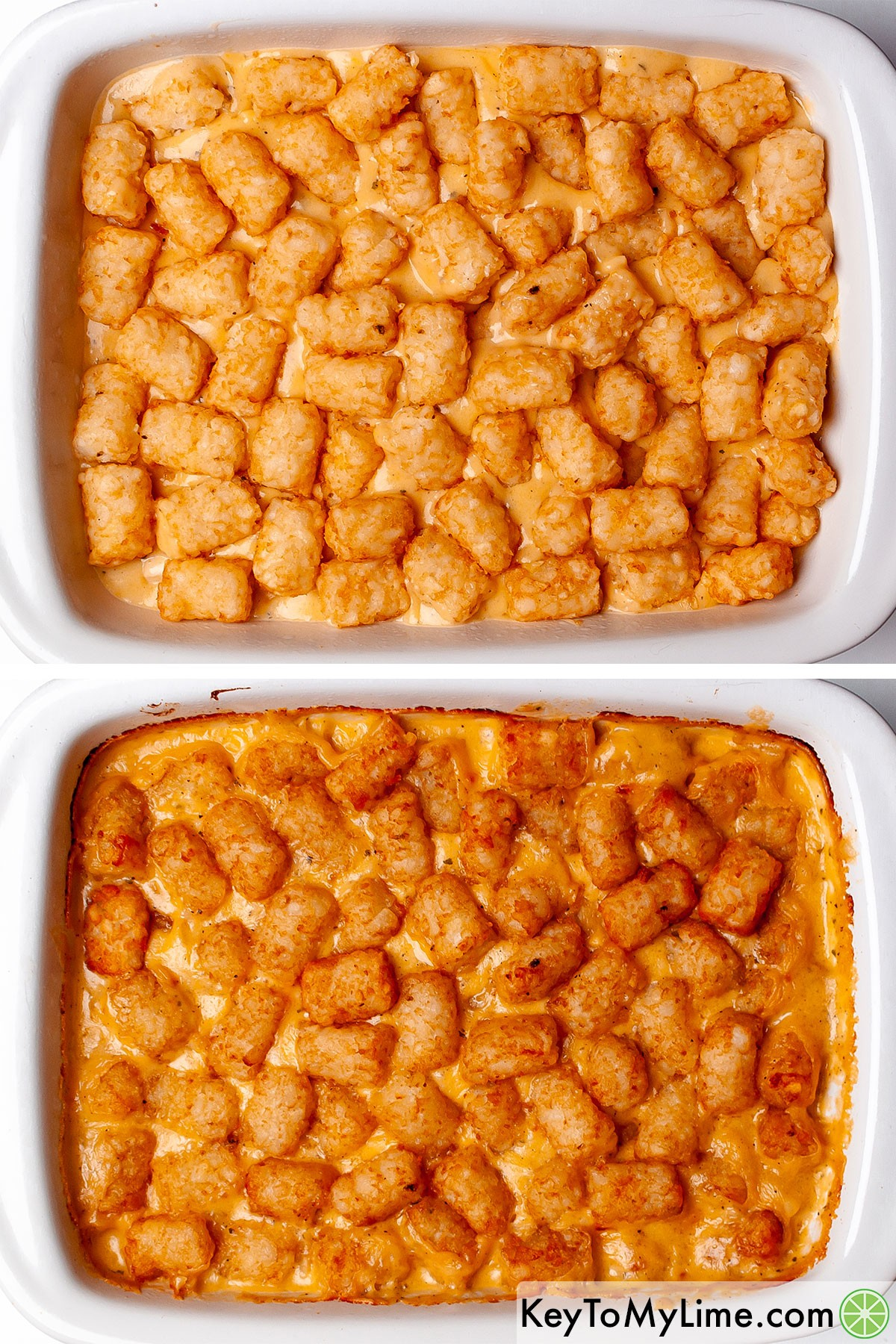 Chicken tater tot casserole before and after baking.