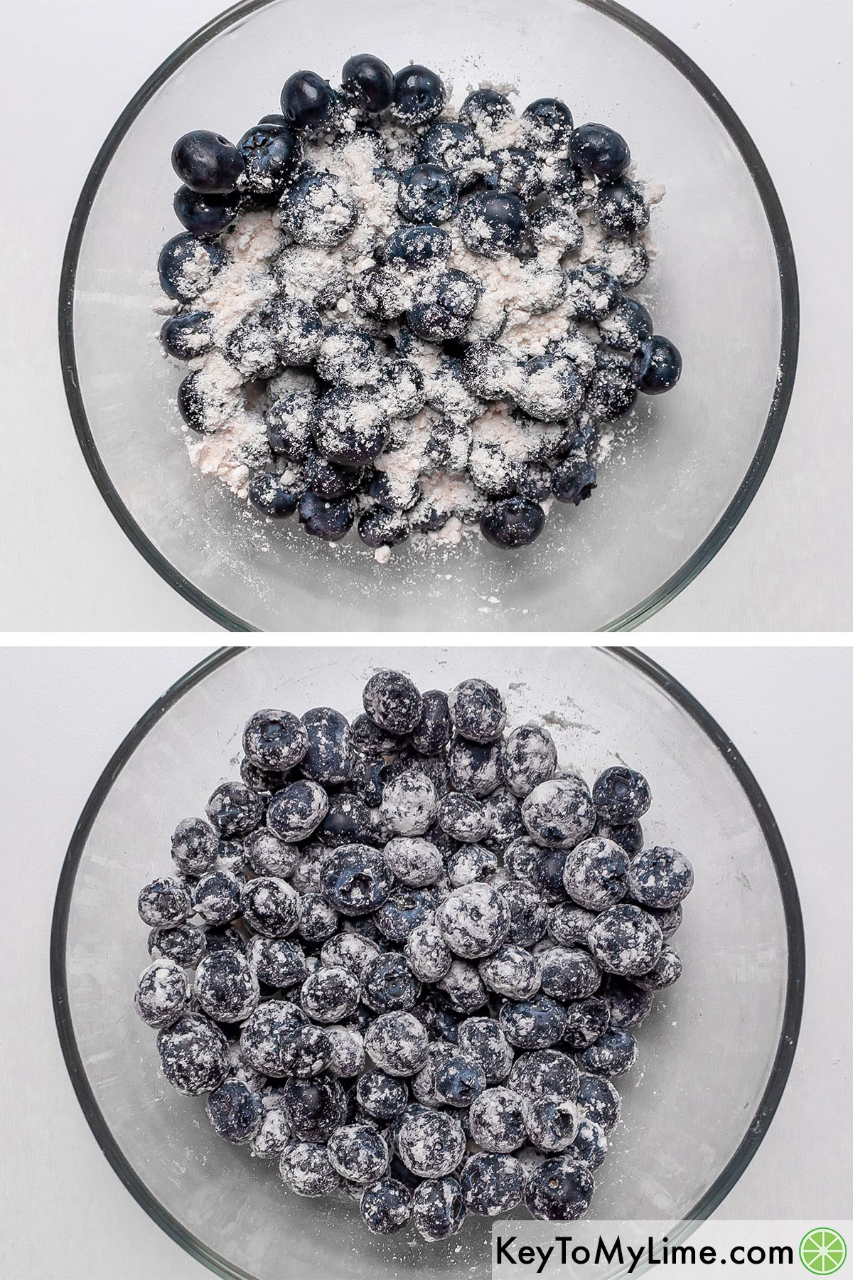 Coating fresh blueberries in a small amount of Bisquick.