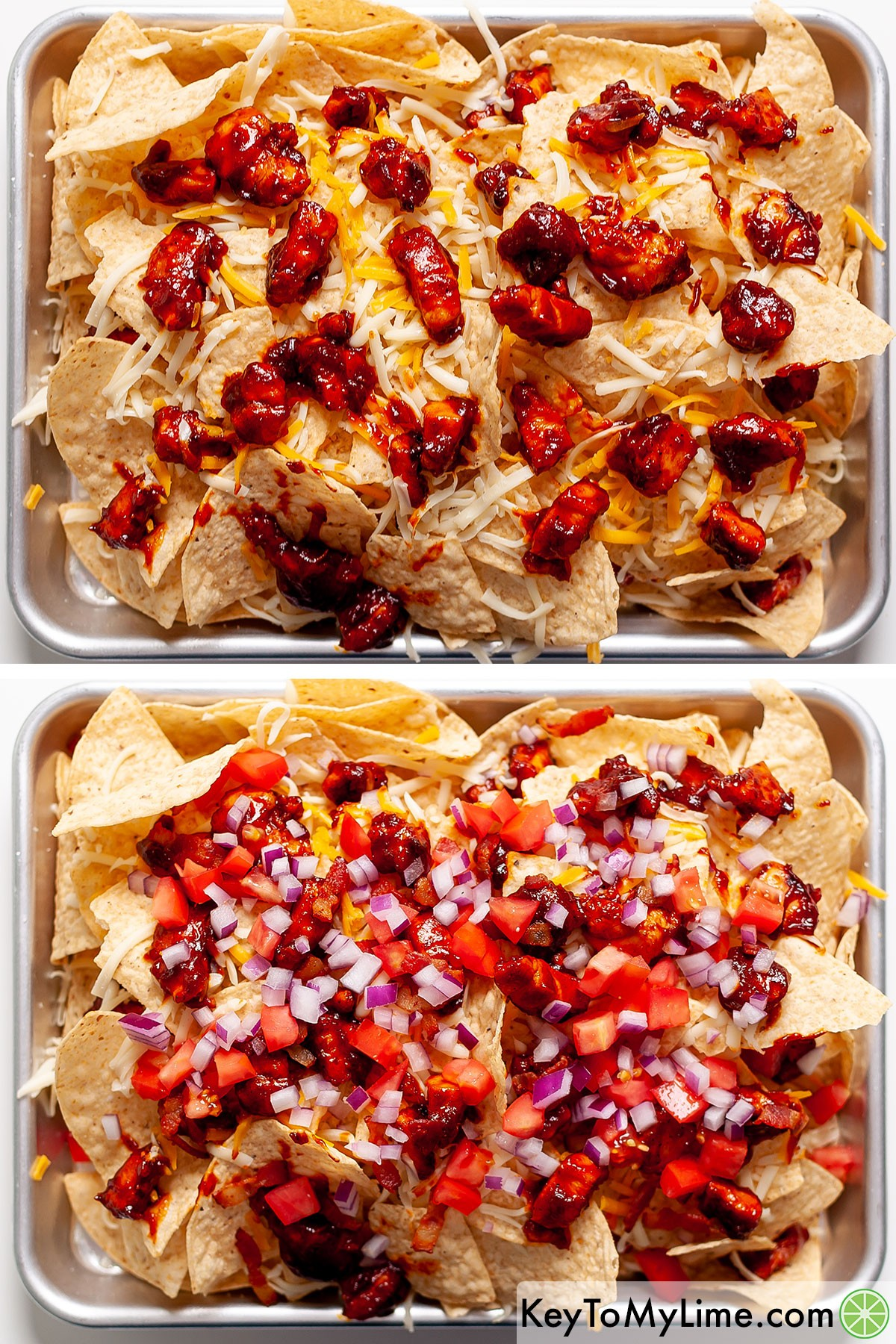 Assembling the layers of BBQ chicken nachos.