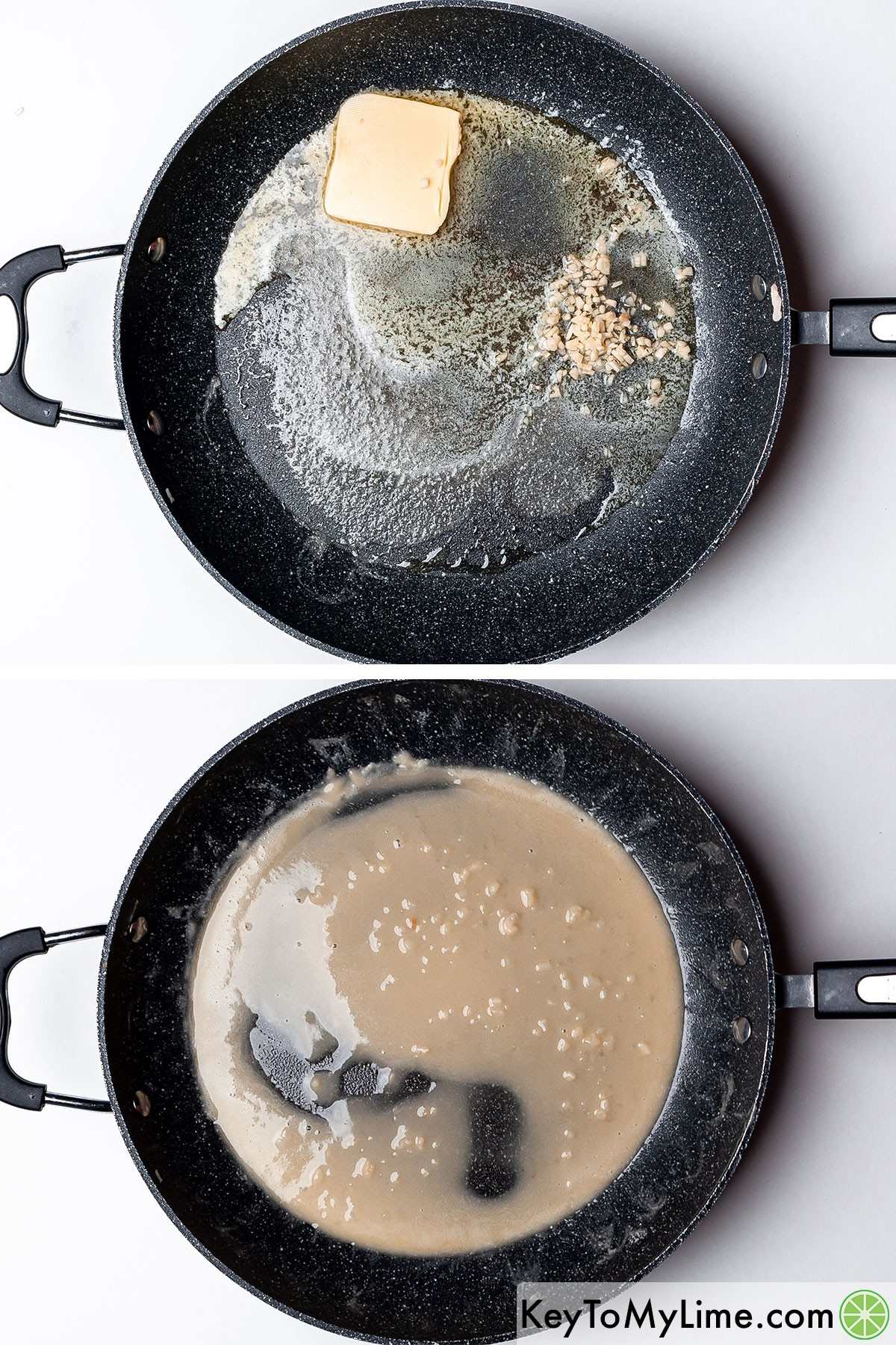 Combining melted butter, minced garlic, and flour to make a roux.