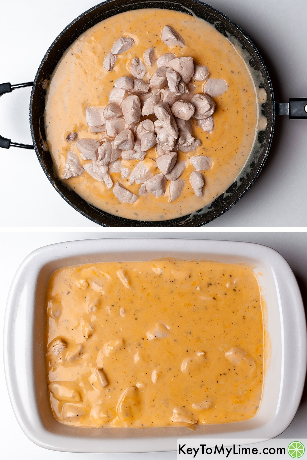 Mixing cooked chicken into the cheese sauce, then transferring that to a casserole dish.