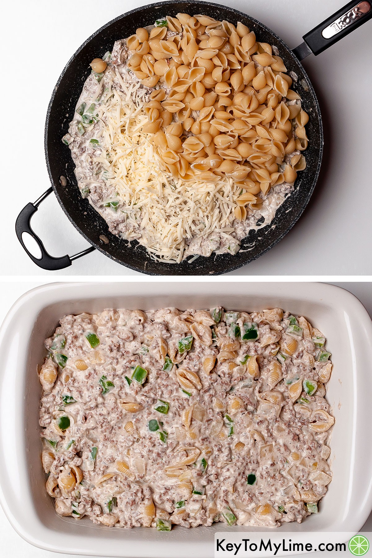 Mixing cooked pasta and shredded mozzarella into cheesesteak casserole filling.