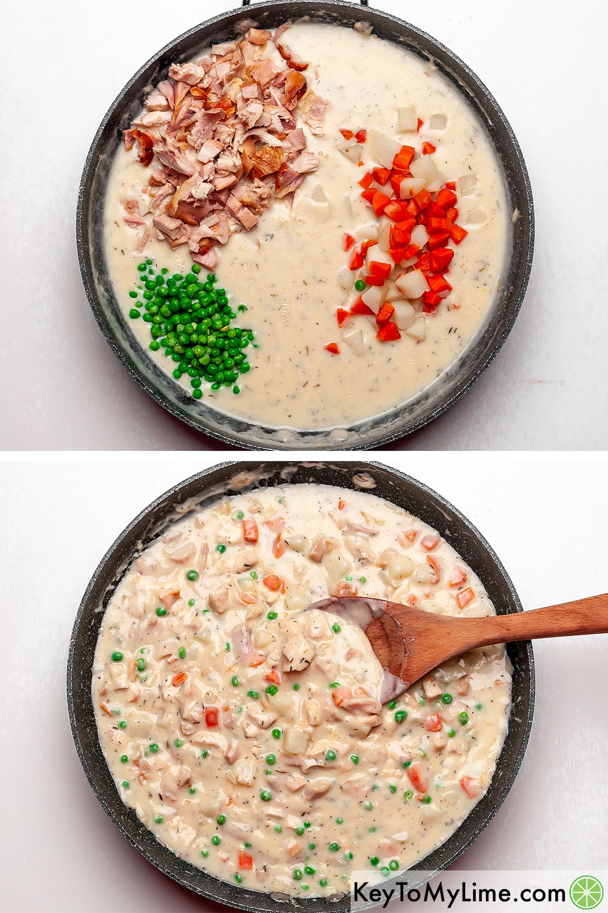 Stirring chicken and vegetables into the creamy pot pie filling base.