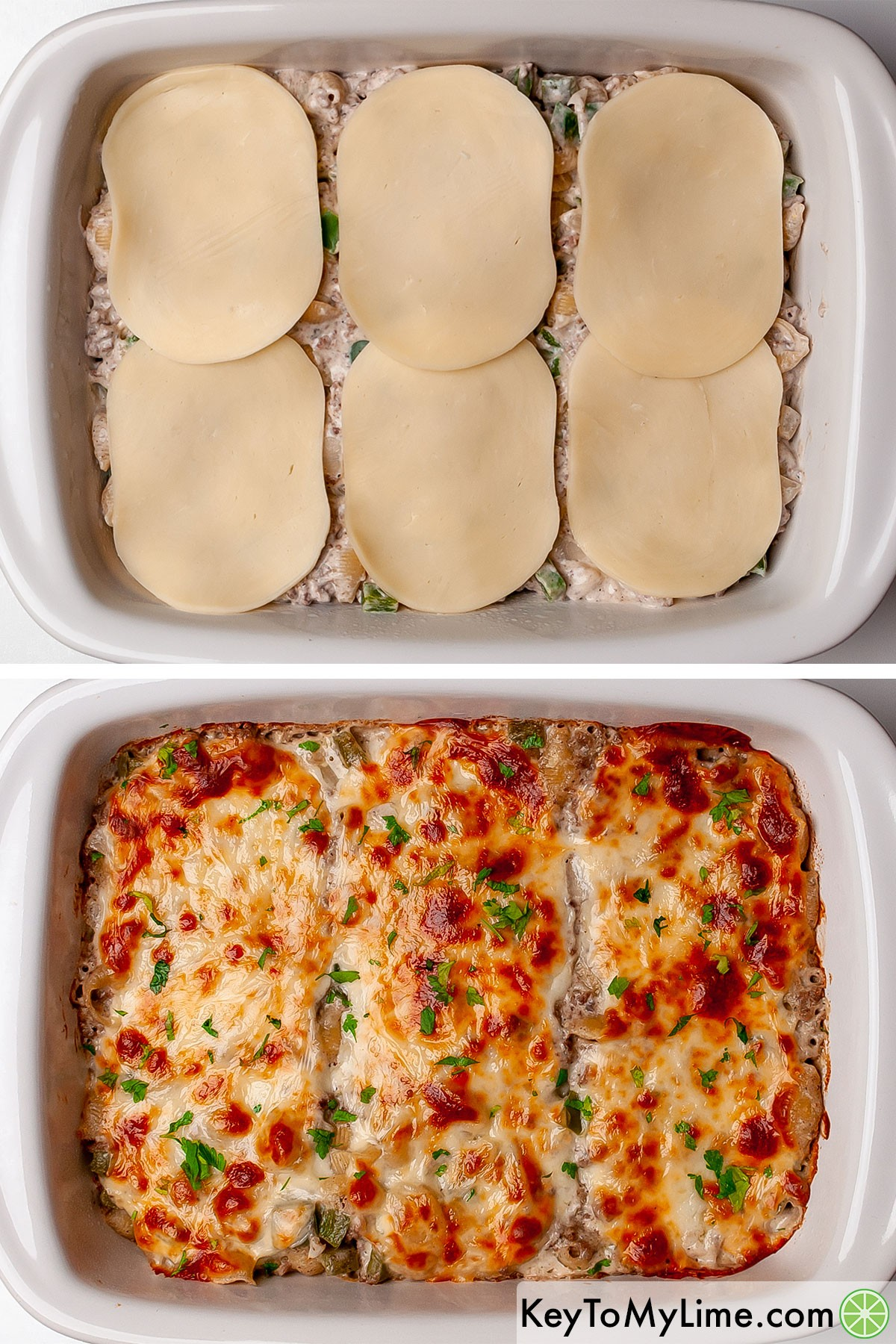 Philly cheesesteak casserole before and after baking.