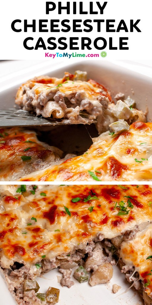 A Pinterest pin image of Philly cheesesteak casserole with title text.