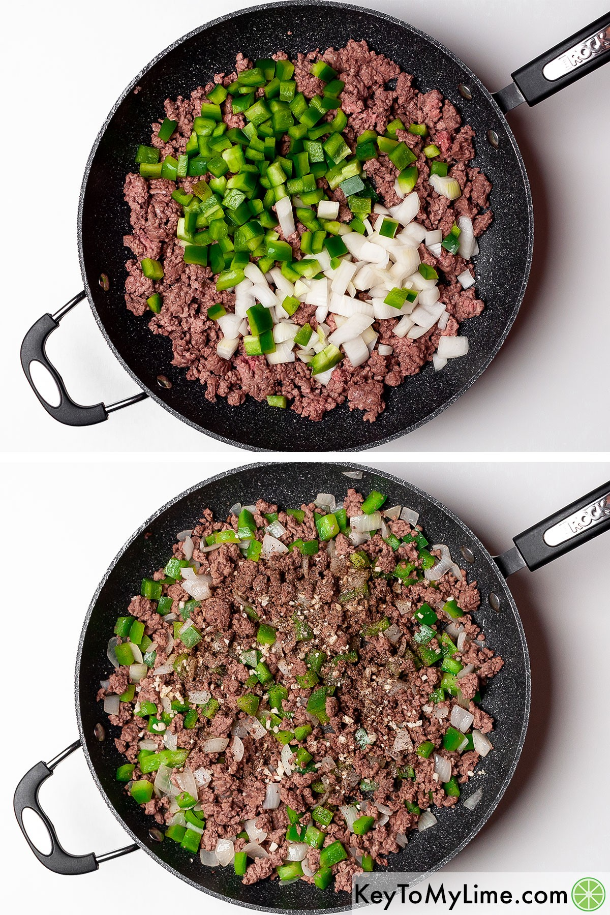 Sauteing ground beef with onion and green bell peppers.