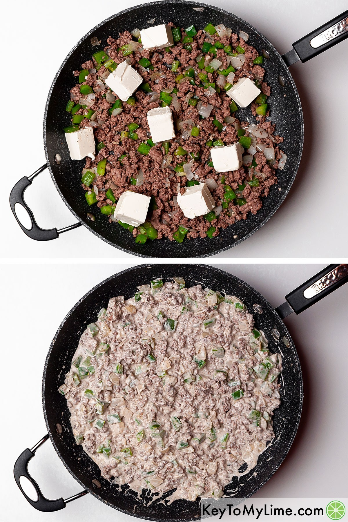 Melting cream cheese into a ground beef, onion, and bell pepper mixture.