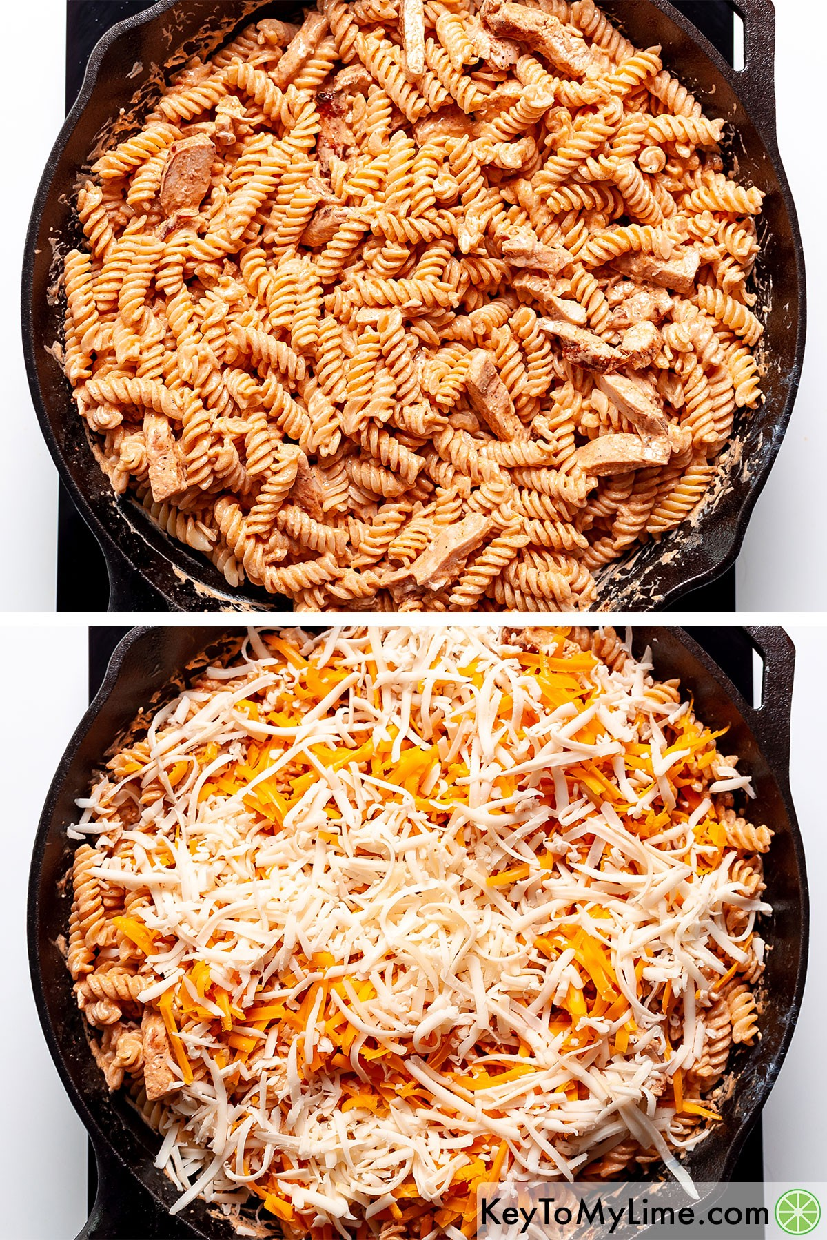 Adding shredded cheese on top of buffalo chicken pasta.